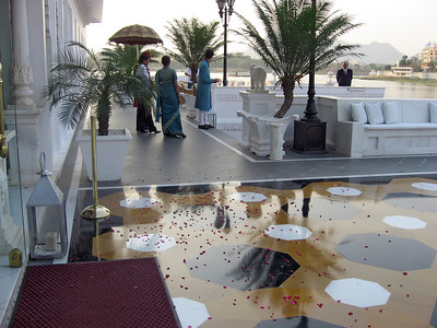 At Lake Palace Hotel, guests are showered with rose petals at arrival.
