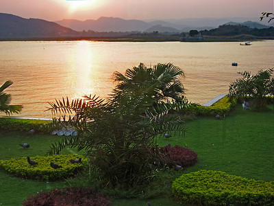 The view from my room at Lake Palace taken at sunset.