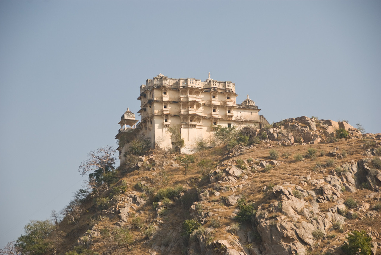 A fort above Jaisamand Lake.