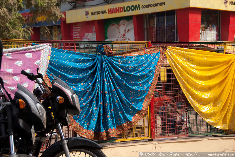 Colorful sarees on display.