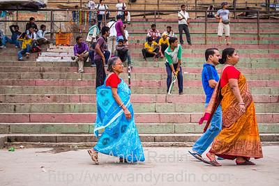 Cricket ghat and family, Varanasi, India