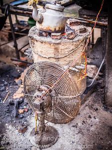 Fan-blown chai boiler, Varanasi, India