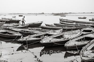 Ganges boats and boatman, Varanasi, India