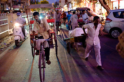 Cycle rickshaws all over Old Delhi, India. 2015