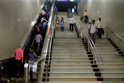 Stairs out of metro. New Delhi, India. 2015