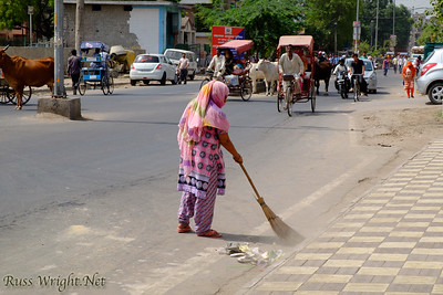 Woman sweeps the streets of New Delhi, India. 2015