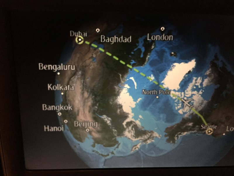 Flying over the North Pole to our layover in Dubai.