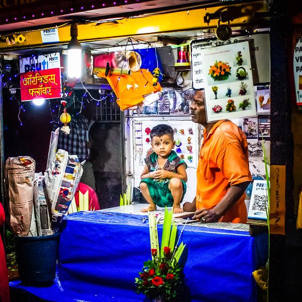 Street market scene in Bombay