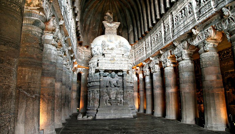 Ajanta's 2000-year old Buddhist caves are carved from living rock.