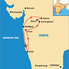 Ajanta is 400 miles NE of Bombay, near Aurangabad.