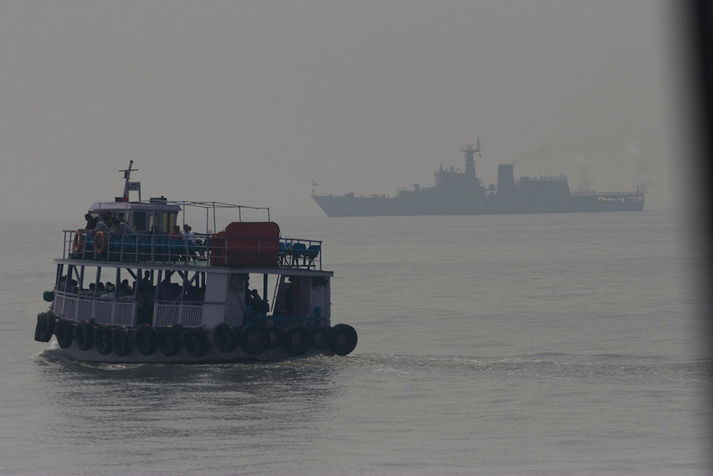Passenger ferry and Indian Navy ship