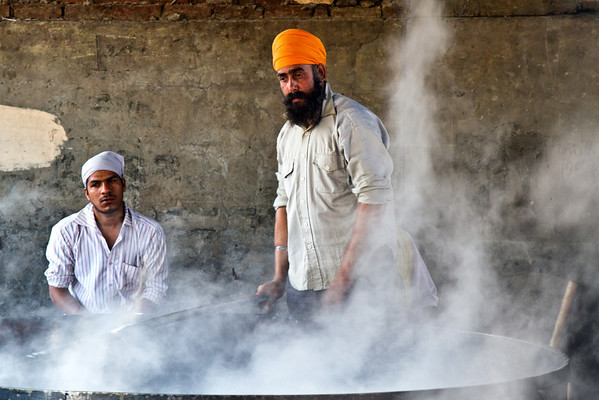 The kitchens at the Golden Temple, Amritsar, which prepare free food for 1000s of pilgrims every day.
