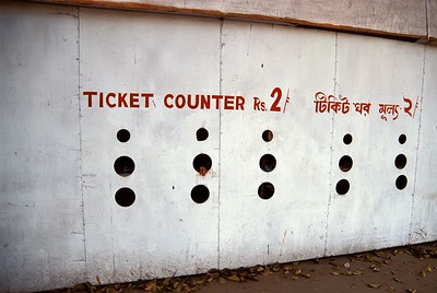 Ticket counter for open air market, Kolkata.