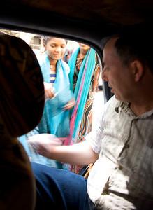 Beggar girls stalking Rene, Mumbai.