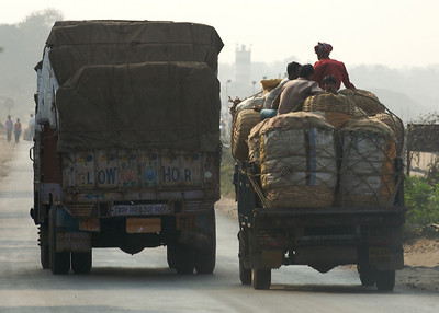 Dueling trucks. Kolkata.