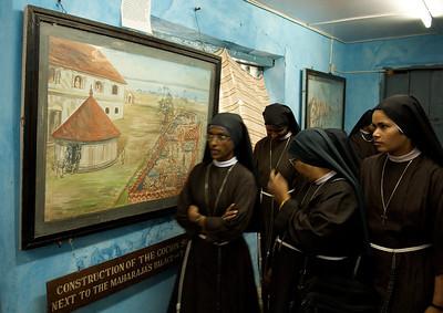 Nuns visiting the synagogue of Cochin, Kerala.
