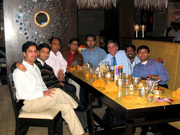 The WNS Offshore PM Team Dinner. Left to right: Vardan, Samir, Pritam, Bhupe, Amit, Tom, Yogesh, and Sumeet.