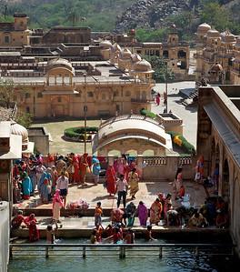 Ladies bathing, Monkey Temple, Galwar Bagh, Jaipur.