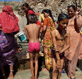 Enjoying the bath, Monkey Temple, Galwar Bagh, Jaipur.