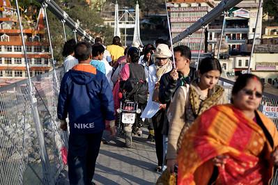 No problem crossing the Lakshman Jhula bridge on a motorcycle, Rishikesh.