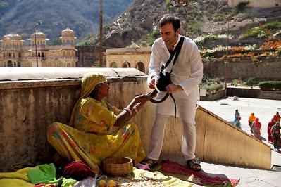 Fabrizio taking the cobra, Monkey Temple, Galwar Bagh, Jaipur.