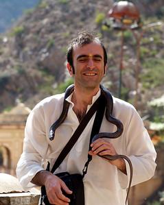 Fabrizio handling the cobra, Monkey Temple, Galwar Bagh, Jaipur.