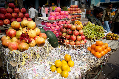 Fruit salesman, Old Delhi.