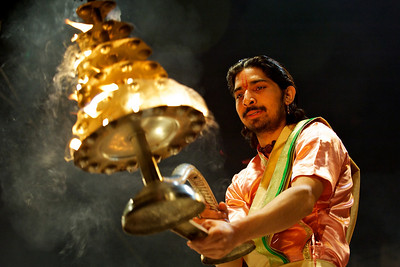 Brahman performing the evening arti ceremony, Varanasi.