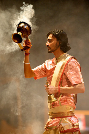 Brahman performing the evening arti ceremony, Varanasi.