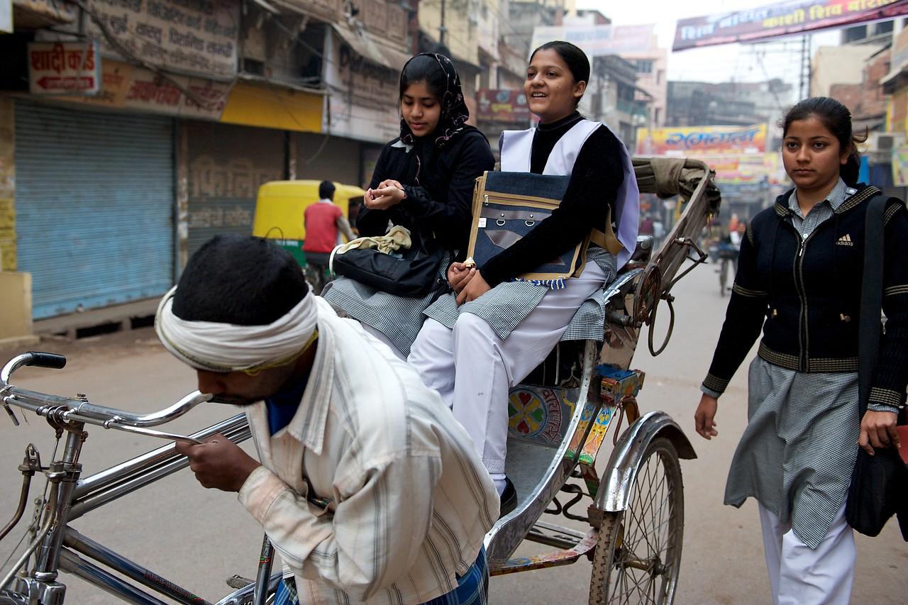 Rickshaw to school, Varanasi.