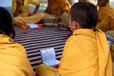 Young students learning mantras, Monkey Temple, Galwar Bagh, Jaipur.