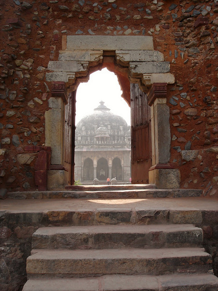 This is a view of the grounds taken from Humayun's Tomb. The buildings were built from 1565-1572 AD.