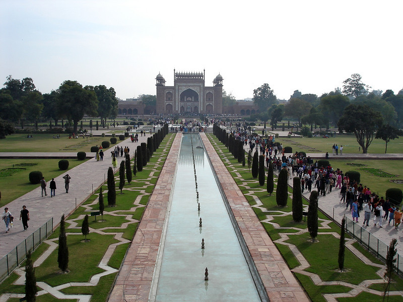 The North Gate and grounds viewed from the deck of the Taj Mahal.