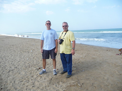 Darren and Mike looking all touristy on Elliot's Beach