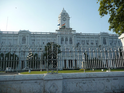 Ripon Building, headquarters of the Corporation of Chennai.  The Chennai Corporation is the civic body that governs the city of Chennai, India.