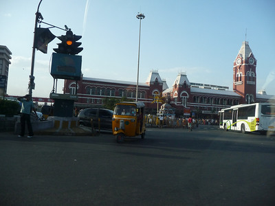 Chennai Central, and that is an extremely modern bus pulling in.  The only one of it's kind I've seen while here.