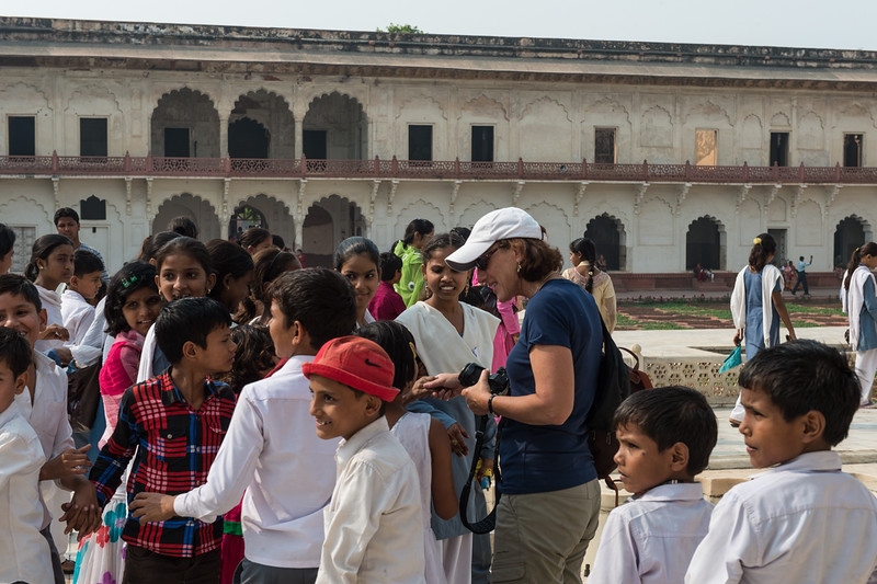 She's a Rock Star!! At Agra Fort.