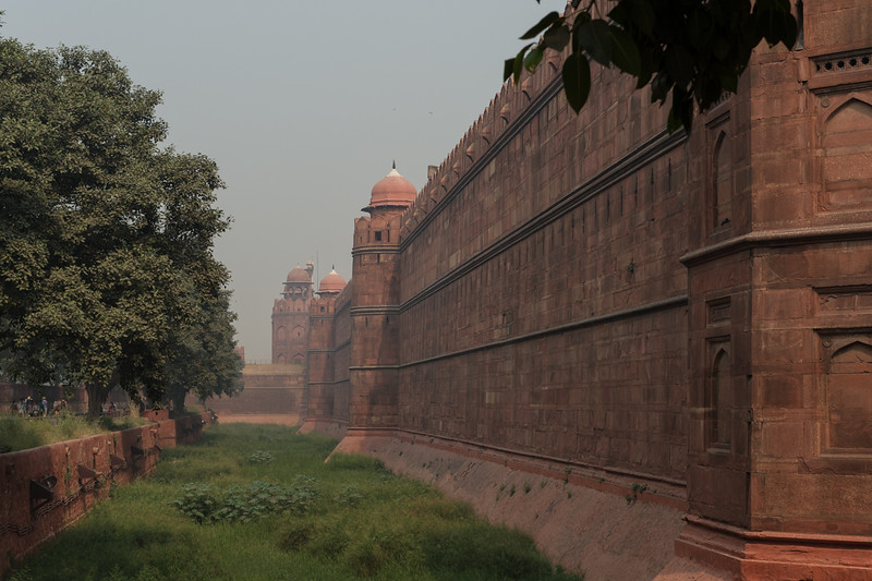 Outside walls of the Red Fort, Delhi.