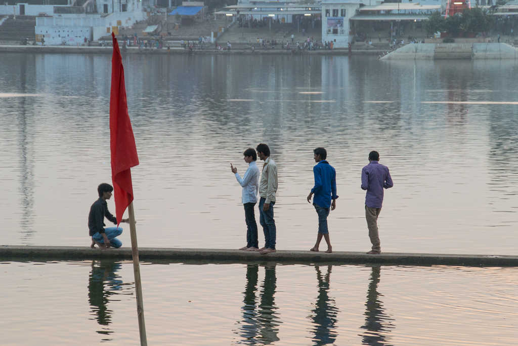Taking photos on the water, Pushkar.