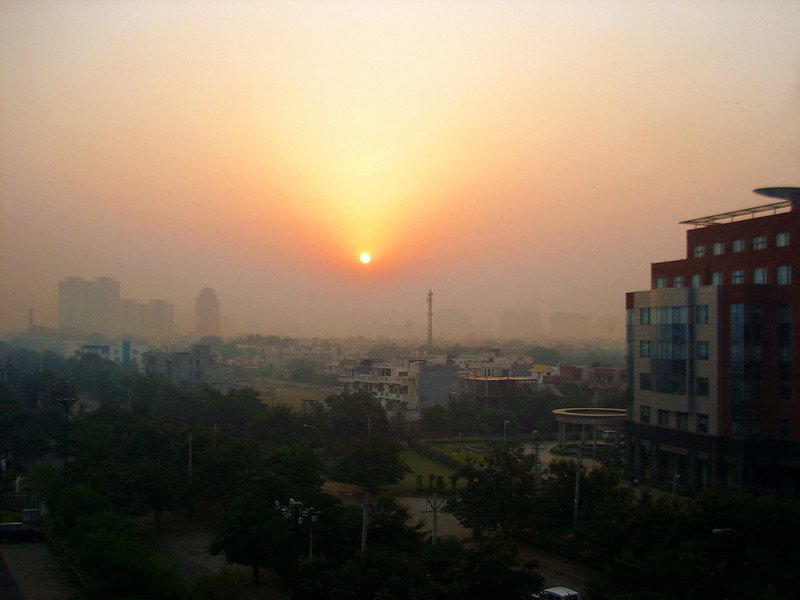 101806: A Delhi Sunrise taken from the rooftop terrace at the Park Plaza Hotel.
