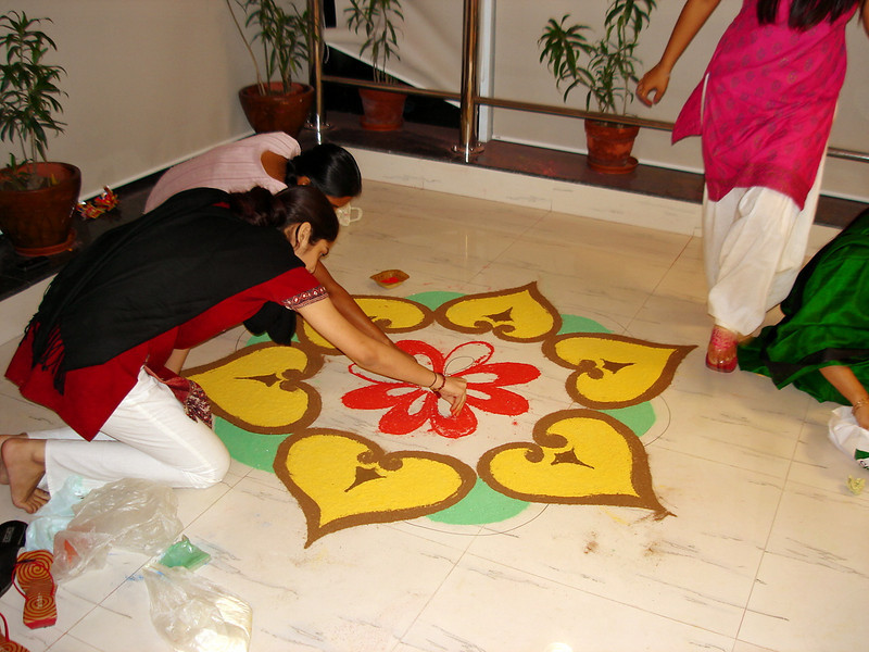 101906: Members of the 2'nd shift BPO team participating in the Diwali artwork contest.
