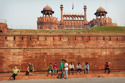 Waiting outside the Red Fort