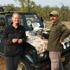 Every morning safari featured breakfast on the jeep hood.  Denise is enjoying this one with Uttam, who was our most-excellent tiger finder.