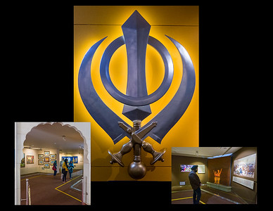 The Khanda--It consists of three weapons and a circle: the khanda, two kirpans and the chakkar which is a circle. It is the military emblem of the Sikhs.
