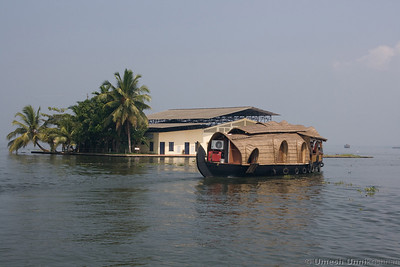 houseboat and a man made island