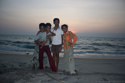 fishermen's kids by the beach