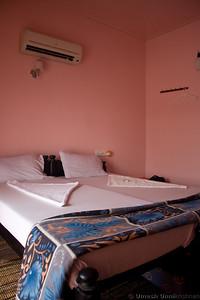 bedroom inside the houseboat