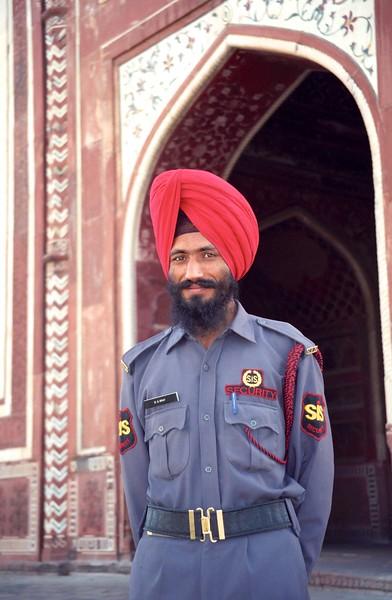 Security guard at the Taj Mahal - Agra, India, April 1999