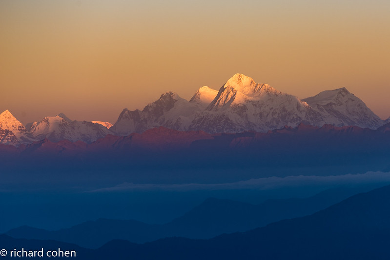 Sunrise view of the top of the world...Of the group in the center, Llotse on the left, Everest in center, Makalu on right.
