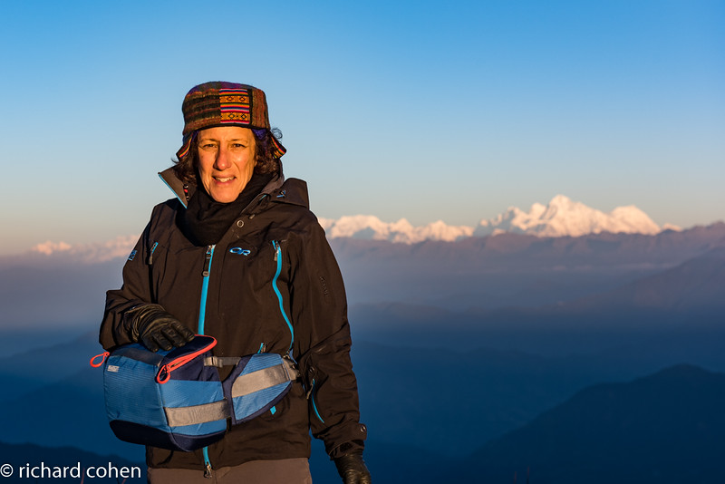 Lisa on the ridge, Everest group in the background.